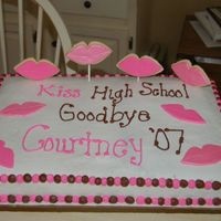 "Kiss It Goodbye This was my cousin's highschool grad cake. It is a loose interpretation of a cake by ""skstuard14"". The standing lips are..."