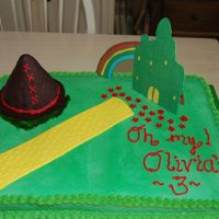 "The Wizard Of Oz This cake was for a 3 year olds birthday. I had several ""caketastrophes"" with this cake. The white side of the 1/2 sheet broke..."