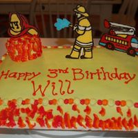 "Fireman Birthday This is the cake I made for my son's birthday this weekend. He is OBSESSED with firemen! I took inspiration from ""merissa's&..."