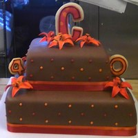 Brown, Orange & Red Lilly Cake