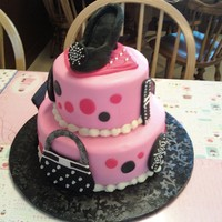 Girly Girl Pink & Black Cake