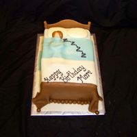 Snoring Lady In Bed This is a 9x13 sheet cake cut in half and stacked and covered with MMF comforter. This was a cake for a lady's mom who is known for...