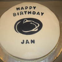 Penn State Birthday Cake   Vanilla cake covered with BC. Fondant logo cut-out