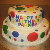 Primary Color Polka Dot Fun   First birthday cake for a little boy.