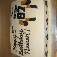 Sidney Crosby Hockey Birthday Cake   Vanilla cake with BC and fondant accents made for a little boy who loves Sidney Crosby and the Pittsburgh Penguins