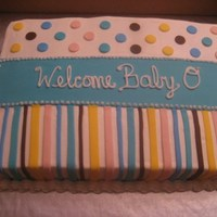 Baby Shower Cake  2 baby shower cakes to go with a popular theme. Cakes are covered with BC and have fondant accents. Cakes are for an unknown gendered baby...
