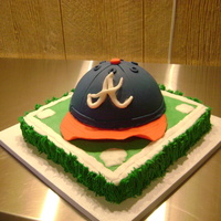 Groom's Cake For My Son My future DIL asked me to do an Atlanta baseball cap as a surprise for my son's grooms cake. I was excitied to try this one. He was...