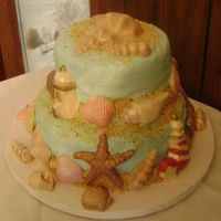Birthday Beach Cake I did this cake for a friend who is 76 years old. She lived in FL for several years. The top tier is strawberry with strawberries and cream...