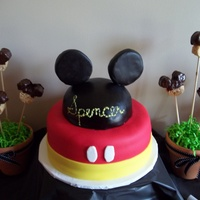 Mickey Mouse Fondan covered cake for my godson's 3rd birthday. He loves Mickey Mouse Clubhouse.