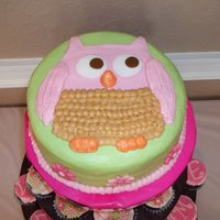 Owl Cake Owl cake done in all buttercream for a baby shower.