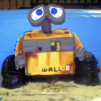 Wall-E Cake Wall-e cake done in fondant and rice crispies treats.