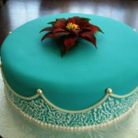 Mara's Birthday Chocolate fudge cake, teal rolled fondant, royal icing decoration and gumpaste poinsettia flower.