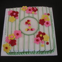 Flower Birthday Cake Inspired by a pattern on a dress. Buttercream icing with fondant flowers