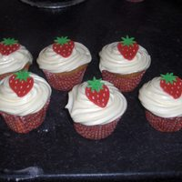 Strawberry Cheesecake Cupcakes These are my favourite cake recipe. They have a fresh strawberry inside and are covered in a fab cheesecake topping, I made the topping...