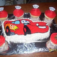 Lightning Mcqueen Birthday Cake! Lightning McQueen character cake, white with bc icing. jumbo white cupcakes with bc icing. Made these for a coworker's nephew.He was...
