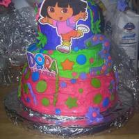Dora Birthday Cake! Bc icing with gumpaste decorations!