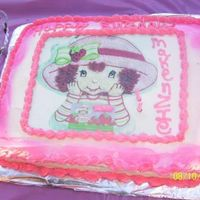 Strawberry Shortcake Birthday Cake Strawberry Shortcake Edible Image 1/2 chocolate 1/2 white cake with bc icing. used the spray colors in the can for the first time. My...