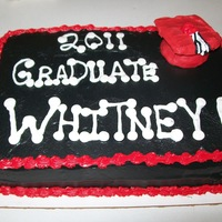 Grad Cake She said anything with peanut butter! So its chocolate cake with chocolate filling with the mini pnutbutter cups in the middle. Grad cap is...