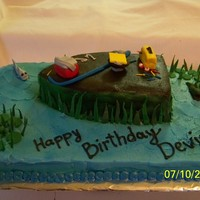 Fishing Cake sheet cake with buttercream and fondant accents
