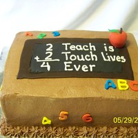 Teacher's Birthday Cake Chocolate with Chocolate buttercream, fondant decorations