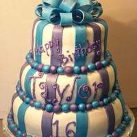 Blue And Purple Stripes All fondant, airbrushed with pearl sheen, butter cream writing