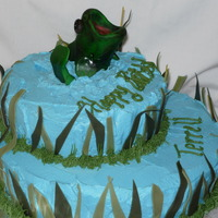 Bass Cake Buttercream icing with fondant accents. The fish is modeled out of fondant as well
