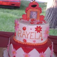 Elmo This is my first BC and fondant tiered cake. Elmo is a little picture frame figurine. all the decorations are fondant. Thanks, Michele...