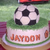 Soccer All BC but the shapes on the bottom tier with the 5 on them. The grass I sprinkled green sugar which hid any white showing through and gave...