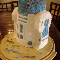 R2D2 Chocolate cake with chocolate ganache. BC. Legs are also cake. Little eye is a piece of red candy.