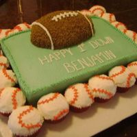 Football Baseball This cake is Confetti with BC. Football is a half egg pan. Then baseball cupcakes bordering it.