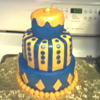 "Tony_Cake.jpg This was a Birthday cake for a good friend's husband. Three tiers 4"", 6"", & 8"". The top and bottom tiers where dark..."