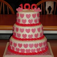 100 Days Of School/valentine's Day Cake  This was for my first grader's class. They have been learning about 100 for the past few weeks and the 100th day of scholl fell on...