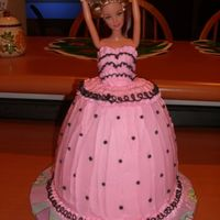 Barbie Cake   Pink and black Barbie cake. PC batter bowl on top of two carved 8 inch rounds.