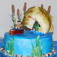 Fish Vs Fisherman Made for my DH's BFF. Both are avid Fishermen so the bass had to be pretty accurate! Fish is RKT. He's not a fan of fondant so I...