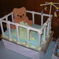 Baby Shower Crib Cake #1 My first version of this cake, sheet cake 'mattress' iced in buttercream, Wilton stand up bear pan used for bear cake. Dowel rod...