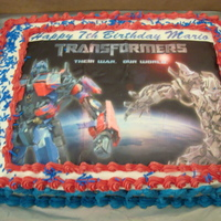 Transformers   Did not get the edible image centered but the customer liked it