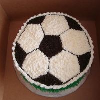 "Soccer 8"" vanilla cake. Customers son love football"