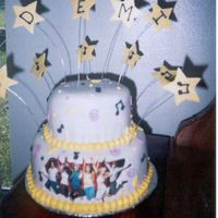 High School Musical Fondant cake with gumpaste stars and I used the edible image and just trimmed the words off so that it would fit on bottom tier. Really...