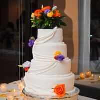 Martinez Wedding fondant cake with fondant swags and fresh flowers