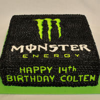 Monster Logo   black is chocolate buttercream, colors are reg, BC, fondant Happy birthday, TLF