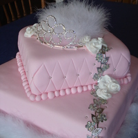 Ultimate Princess Cake Pink Strawberry cake with vanilla buttercream. I bought the lace from a market in England!