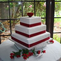 Red Ribbon Wedding Cake   This is my very first wedding cake!!