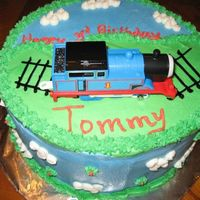 Thomas The Train The cake design I borrowed from Gracefull - This was my first birthday cake for a child other than my own. Chocolate w/ BC. First time...