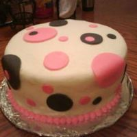 Pink And Black Dots Buttercream with fondant accents