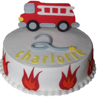 Firetruck Cake Inspired by NatiMF30's firetruck cake. BC frosting with fondant flames, hose, and firetruck topper. TYFL!