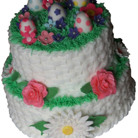 Easter Cake BC basketweave piping with grass tip for green grass. Fondant flowers and eggs. TYFL!