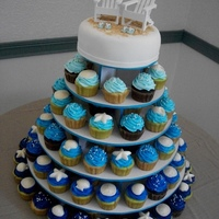 "Beach Wedding Cupcake Tower This cupcake tower was done for a beach themed wedding reception. Cake topper is covered in fondant with graham cracker ""sand""...."