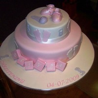 Olivia's Christening Cake Iced in fondant, and all fondant decoration. painted with lustre dust