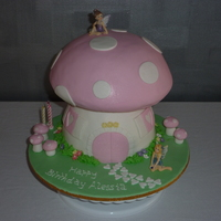 Fairy Toadstool Top is Jaffa cake and bottom is white choc mud and raspberry. All decorations are fondant except for fairies.Many thanks to Ursular for her...