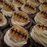 Superbowl Cupcakes   Chocolate cupcakes with buttercream icing.